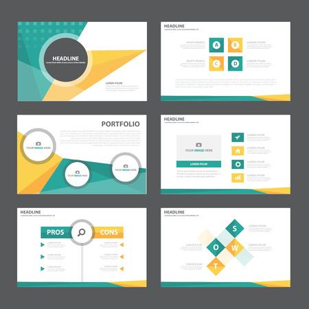 plantilla: Modelo de la presentación abstracta de los elementos de color naranja verde Infografía conjunto diseño plano para folleto folleto publicitario de marketing folleto