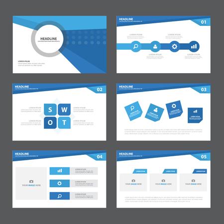 브로셔 전단지 마케팅 광고에 대 한 블루 추상적 인 프리젠 테이션 템플릿 인포 그래픽 요소 평면 디자인 세트 일러스트