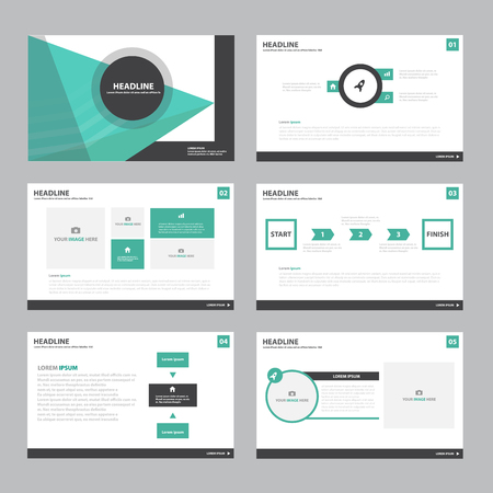 Groen Abstracte presentatiesjabloon Infographic elementen plat ontwerp set voor brochure flyer folder marketing reclame Stock Illustratie