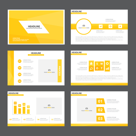 magazine design: Yellow Abstract presentation template Infographic elements flat design set for brochure flyer leaflet marketing advertising