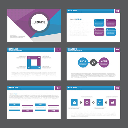 Blue purple Abstract presentation template Infographic elements flat design set for brochure flyer leaflet marketing advertising