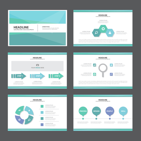 sjabloon: Blauwe Abstracte presentatiesjabloon Infographic elementen platte ontwerp set voor brochure flyer folder marketing reclame
