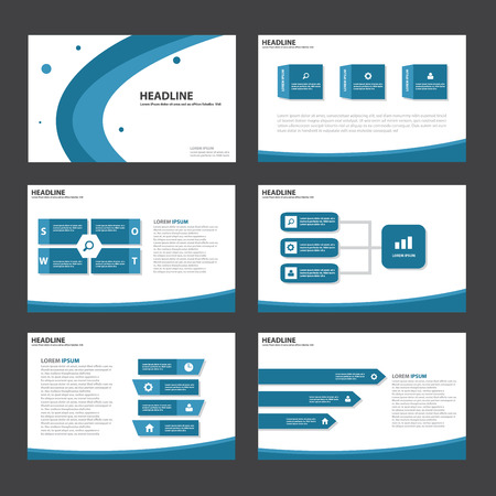 Blue Abstract presentation template Infographic elements flat design set for brochure flyer leaflet marketing advertising