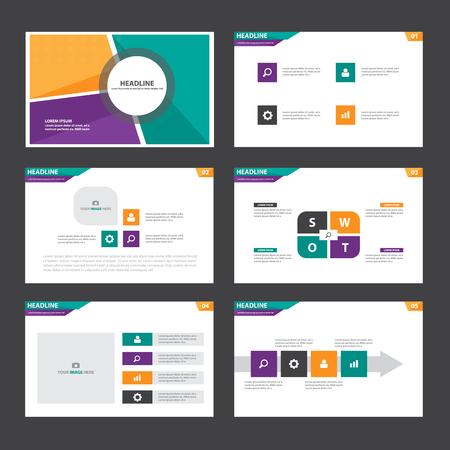 modèle de présentation mauve Infographic éléments verts orange plat d'ensemble de la conception pour la brochure dépliant publicitaire de marketing dépliant Vecteurs