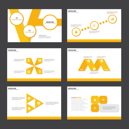keynote: Yellow Abstract presentation template Infographic elements flat design set for brochure flyer leaflet marketing advertising