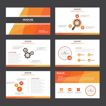 naranja: Elementos de Infograf�a abstracto naranja plantilla de presentaci�n dise�o plano fijaron para el aviador folleto publicitario de marketing folleto Vectores