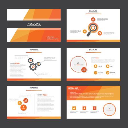 Orange Résumé modèle de présentation des éléments infographiques design plat fixés pour brochure dépliant publicitaire de marketing dépliant Banque d'images - 50010674