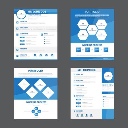 hoja de vida: Diseño plano del perfil del negocio plantilla de diseño del curriculum vitae CV vitae creativo elegante para la solicitud de empleo de dibujos animados de marketing publicitario Vectores