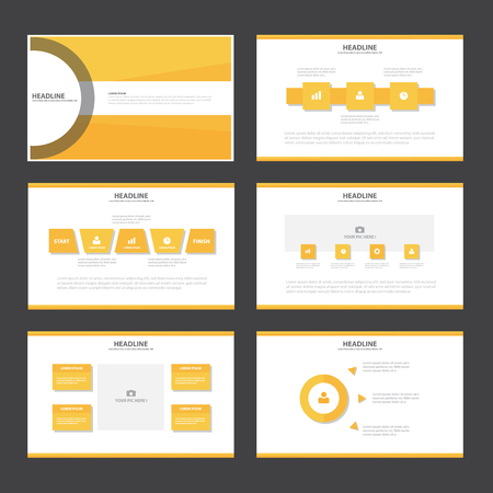 powerpoint: Orange Abstract presentation template Infographic elements flat design set for brochure flyer leaflet marketing advertising