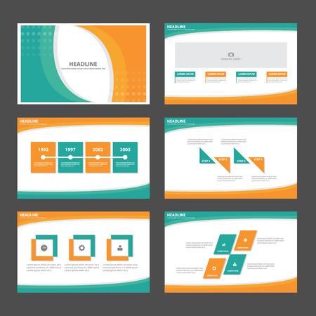 Orange green Abstract presentation template Infographic elements flat design set for brochure flyer leaflet marketing advertising
