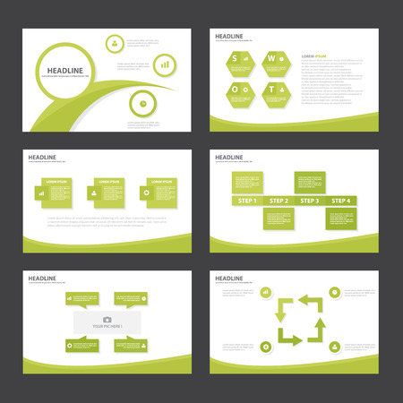 Green Abstract Polygon presentation template Infographic elements flat design set for brochure flyer leaflet marketing advertising 向量圖像