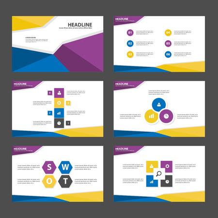 keynote: Yellow Blue purple polygon Abstract Polygon presentation template Infographic elements flat design set for brochure flyer leaflet marketing advertising