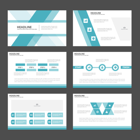 Blue polygon Abstract Polygon presentation template Infographic elements flat design set for brochure flyer leaflet marketing advertising 向量圖像