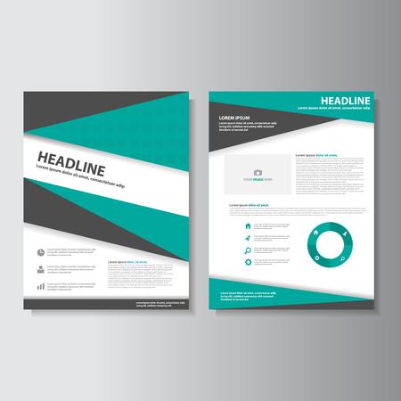 Green and Black brochure flyer leaflet presentation templates Infographic elements flat design set for marketing advertising