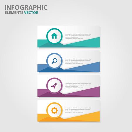 Colorful Label Infographic elements presentation templates flat design set for brochure flyer leaflet marketing advertising Vettoriali