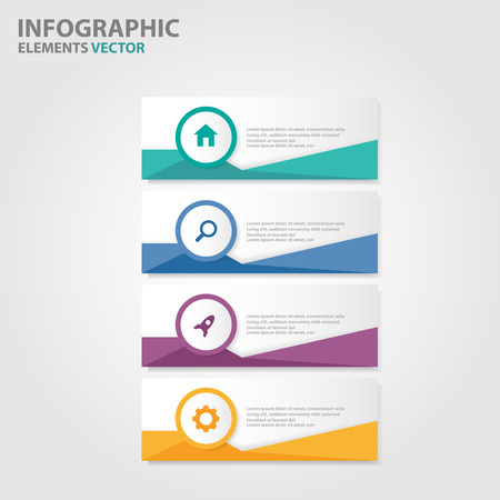 Colorful Label Infographic elements presentation templates flat design set for brochure flyer leaflet marketing advertising Vectores