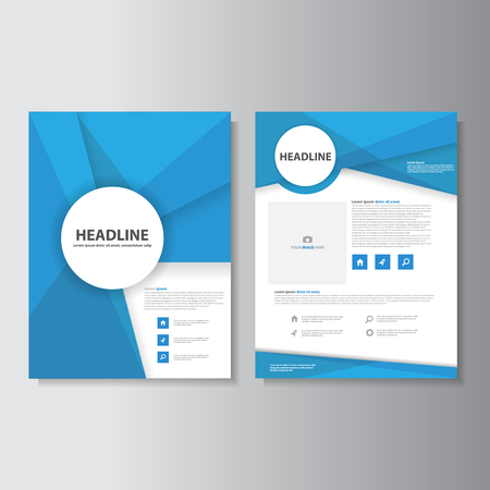 magazine layout: Blue brochure flyer leaflet presentation templates Infographic elements flat design set for marketing advertising