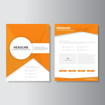 Orange brochure flyer leaflet presentation templates Infographic elements flat design set for marketing advertising