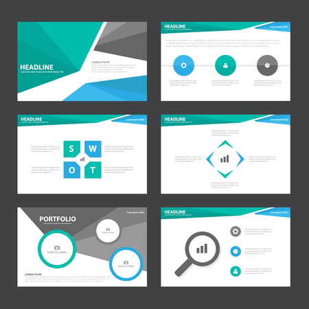 Blue Green black presentation templates Infographic elements flat design set for brochure flyer leaflet marketing advertising