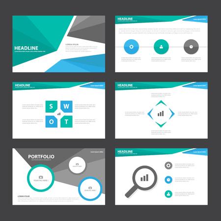 sjabloon: Blue Green zwarte presentatiesjablonen Infographic elementen plat ontwerp set voor brochure flyer folder marketing reclame