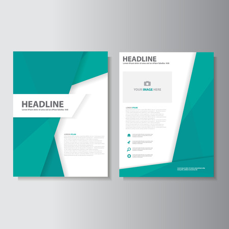 Green brochure flyer leaflet presentation templates Infographic elements flat design set for marketing advertising