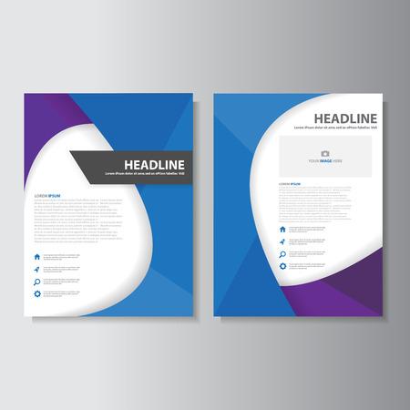 Purple blue flyer leaflet brochure presentation templates Infographic elements flat design set for marketing advertising