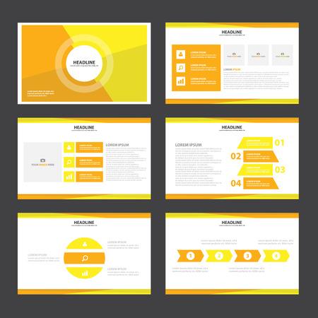 roadmap: Yellow presentation templates Infographic elements flat design set for brochure flyer leaflet marketing advertising