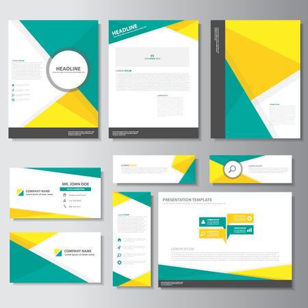 Vert brochure d'affaires dépliant dépliant modèles de présentation jaune éléments infographiques design plat fixés pour la publicité de marketing