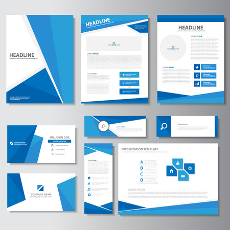 sjabloon: Blauw brochure flyer folder presentatiesjablonen Infographic elementen plat ontwerp vastgesteld voor marketing reclame
