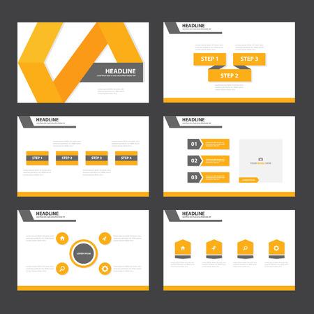 Naranja y negro plantillas de presentación elementos de Infografía conjunto plana para el folleto publicitario de marketing folleto Ilustración de vector