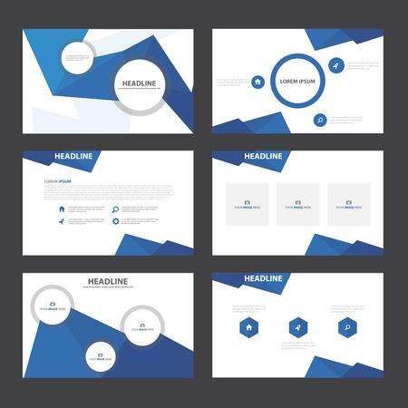 magazine template: Blue polygon presentation templates Infographic elements flat design set for brochure flyer leaflet marketing advertising