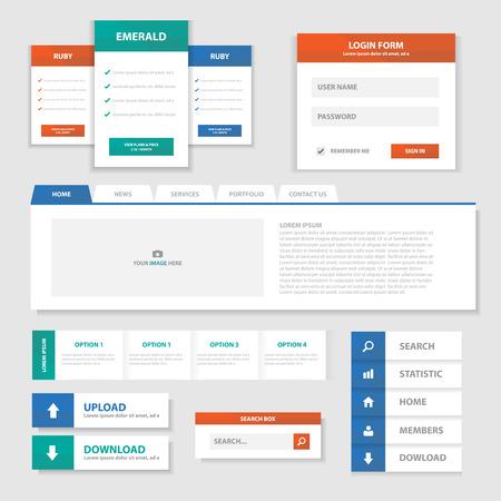 광고를위한 녹색 빨강 파랑 다목적 웹 사이트 템플릿과 인포 그래픽 요소 평면 디자인 세트