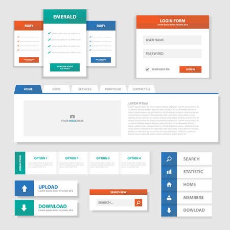 website buttons: Green Red Blue Multipurpose Website templates and infographic elements flat design set for advertising Illustration