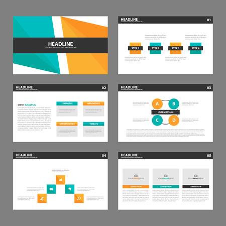 abstract design elements: Ornge green Presentatio template infographic elements multipurose presentation templates flat design set