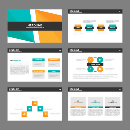 Ornge green Presentatio template infographic elements multipurose presentation templates flat design set