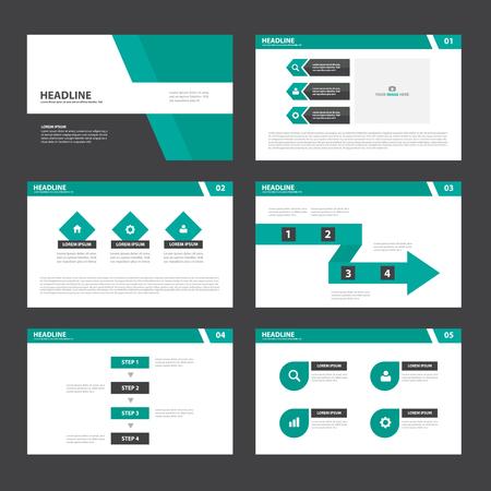 Green black Presentatio template infographic elements multipurose presentation templates flat design set