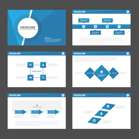 graphic presentation: Blue presentation templates Infographic elements flat design set for brochure leaflet marketing advertising