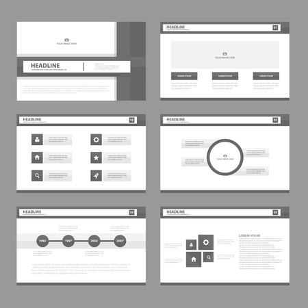 Black white Infographic elements presentation template flat design set for brochure flyer leaflet