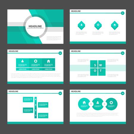 flujo: Verde elementos de Infografía plantilla de presentación plana de diseño conjunto de folleto folleto Vectores
