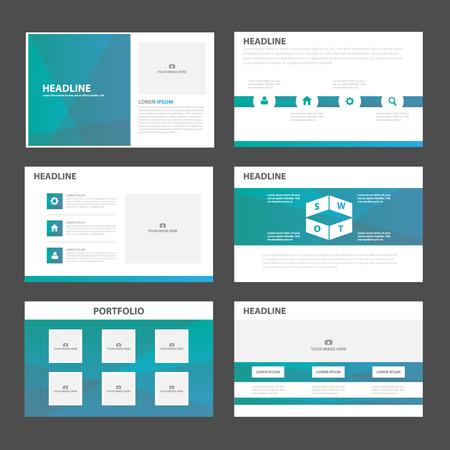 graphic presentation: Blue Green polygon presentation templates Infographic elements flat design set for brochure leaflet marketing advertising Illustration