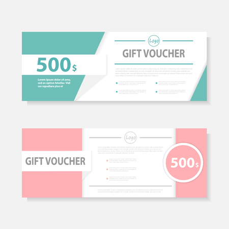 Green pink Gift voucher template with colorful pattern,cute gift voucher certificate coupon design template,Collection gift certificate business card banner calling card poster
