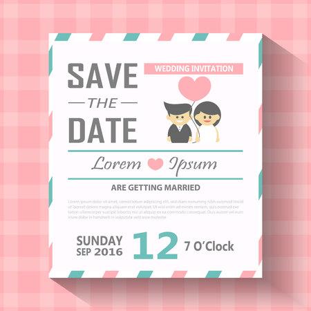 Bruiloft uitnodiging kaart sjabloon vector illustratie.