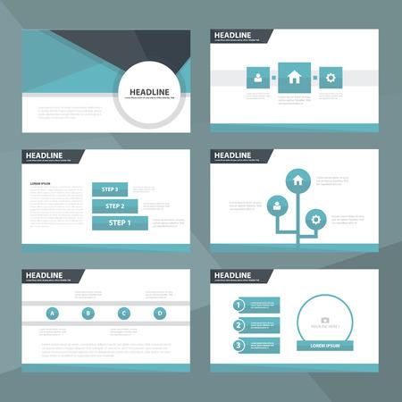 Blue and Black presentation templates Infographic elements flat design set for brochure flyer leaflet marketing advertising Illusztráció