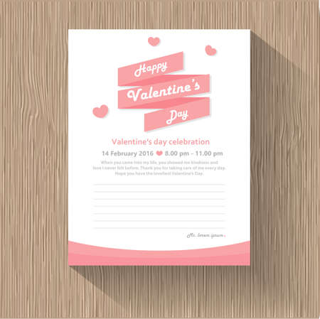 Happy valentines day ribbon with pink heart greeting cards, wood pattern background vector illustration, Illustration