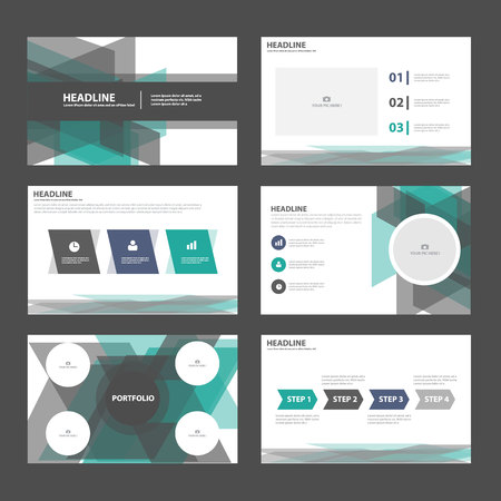 Green black presentation templates Infographic elements flat design set for brochure flyer leaflet marketing advertising