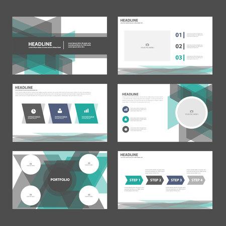 sjabloon: Groen zwart presentatiesjablonen Infographic elementen plat ontwerp set voor brochure flyer folder marketing reclame Stock Illustratie