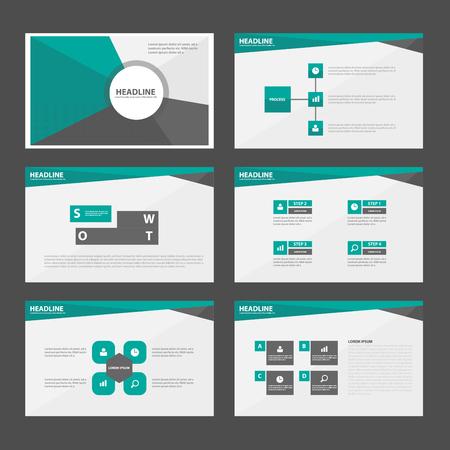 graphic presentation: Green and Black presentation templates Infographic elements flat design set for brochure flyer leaflet marketing advertising
