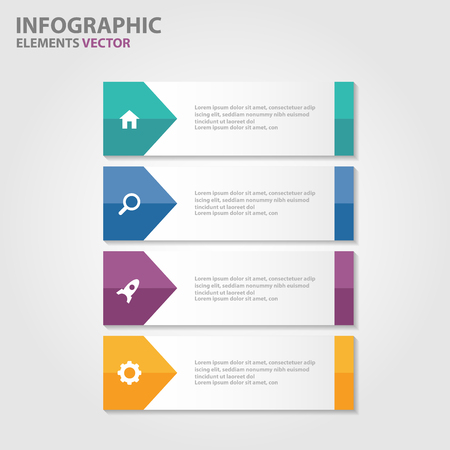 Colorful label presentation templates Infographic elements flat design set for brochure flyer leaflet marketing advertising Illustration