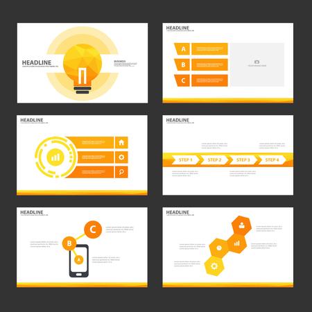 roadmap: Orange light bulb presentation templates Infographic elements flat design set for brochure flyer leaflet marketing advertising Illustration