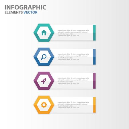 Kleurrijke zeshoek banner presentatiesjablonen elementen Infographic